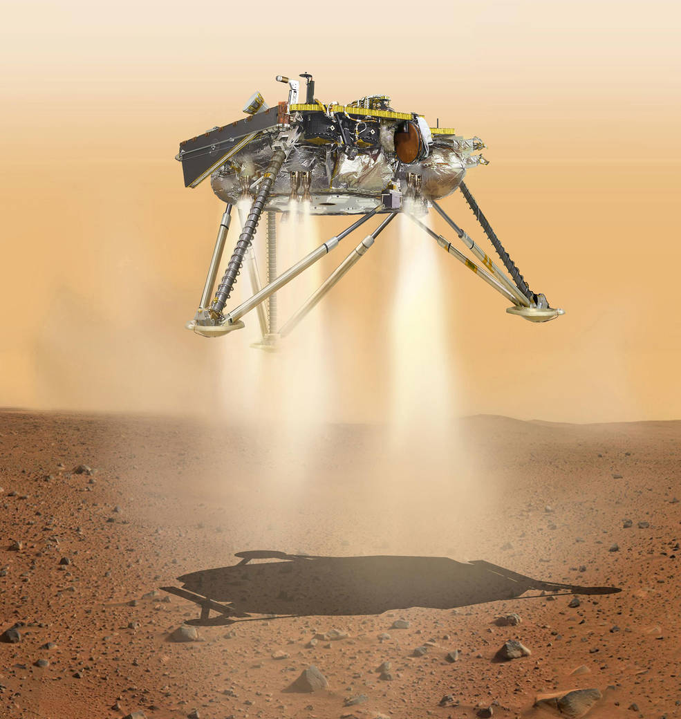 This is an illustration showing a simulated view of NASA's InSight lander