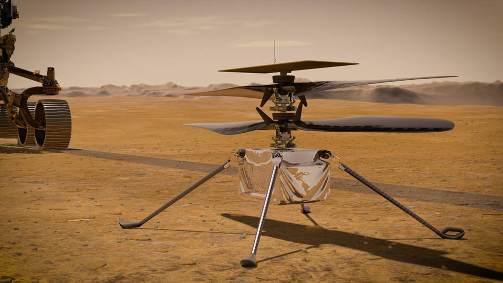 In this illustration, NASA's Ingenuity Mars Helicopter stands on the Red Planet's surface