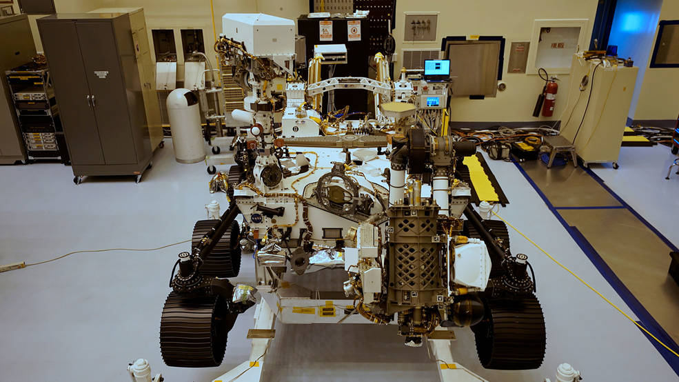 Top center: The plate on the aft crossbeam of NASA's Mars Perseverance rover