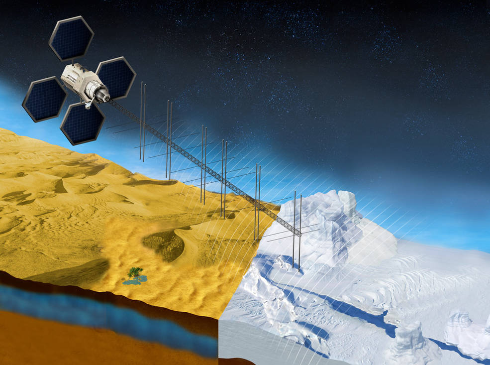 This illustration shows what a satellite with a proposed radar instrument for the mission could look like