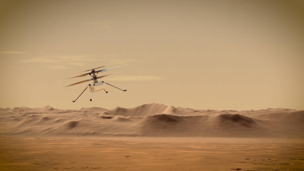An artist's concept of NASA's Ingenuity Mars Helicopter flying through the Red Planet's skies