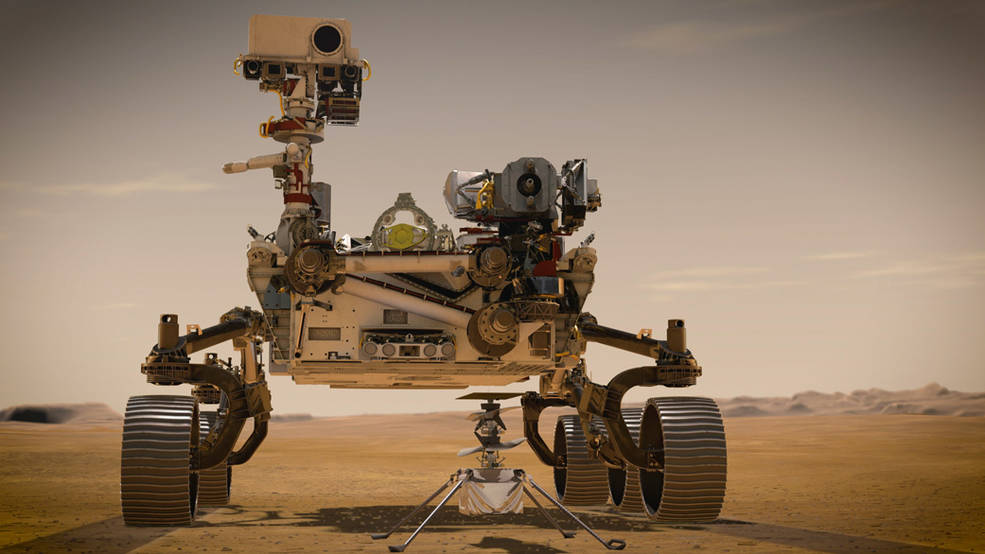 NASA's Mars 2020 Perseverance rover and NASA's Ingenuity Mars Helicopter (shown in an artist's concept)