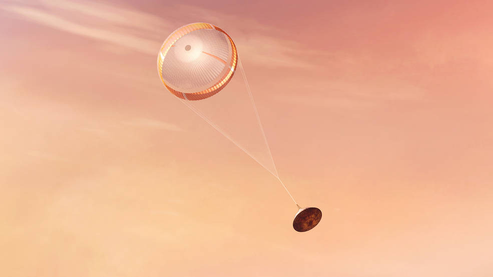 Illustration of NASA's Perseverance rover begins its descent through the Martian atmosphere
