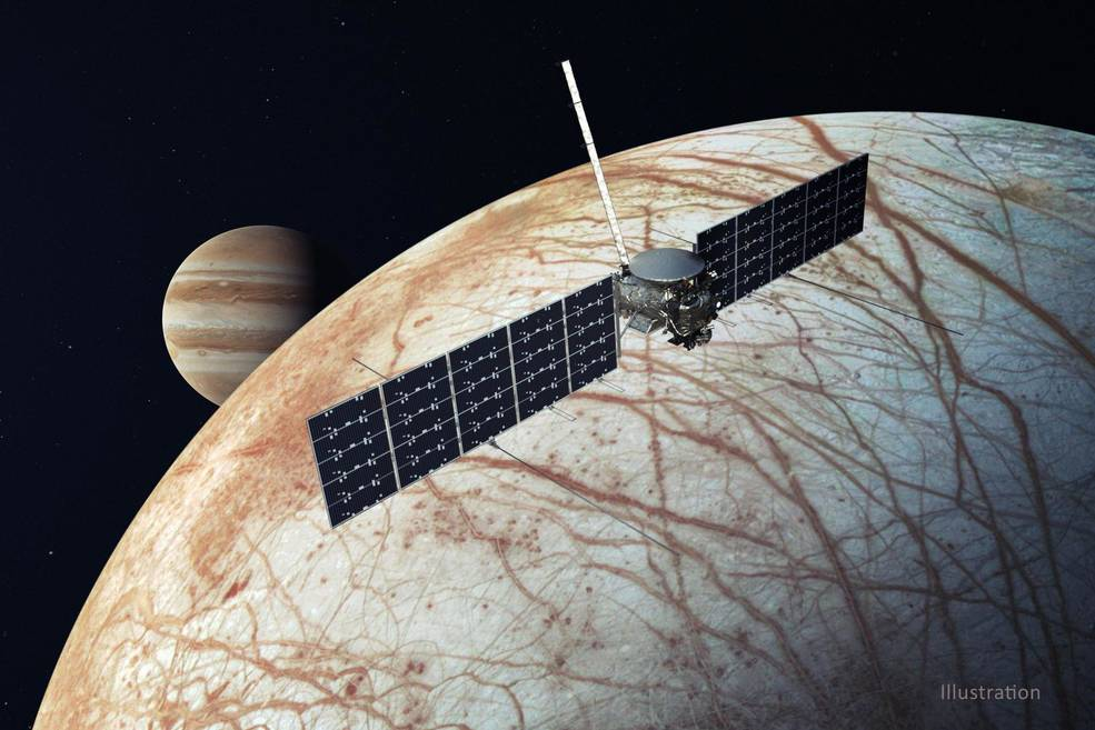 This illustration, updated in December 2020, depicts NASA's Europa Clipper spacecraft.