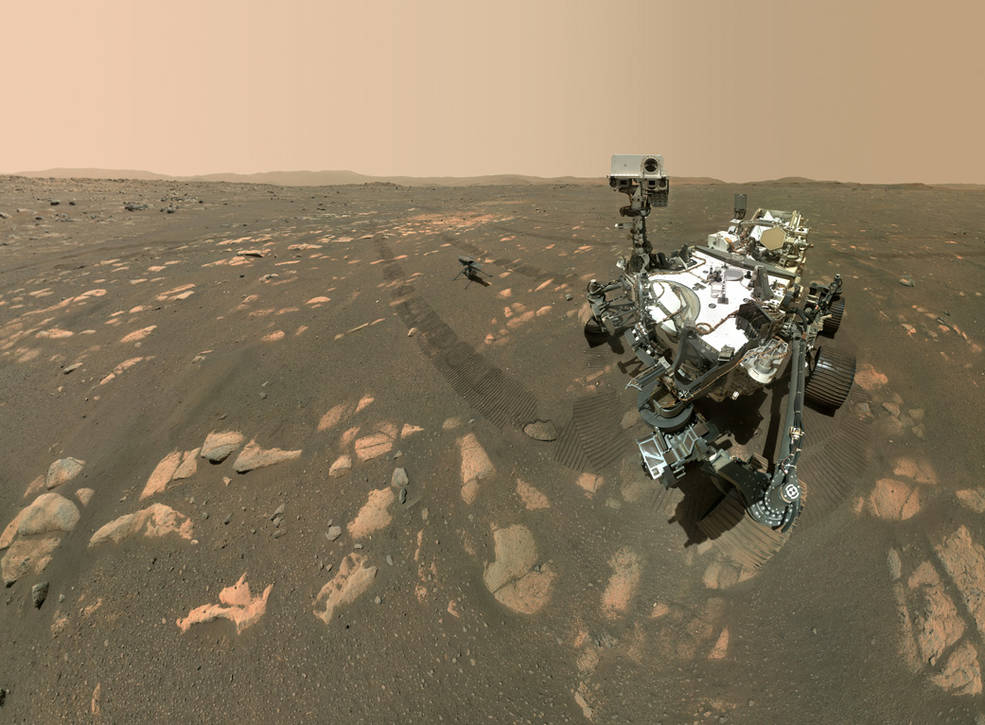 Selfie de Perseverance con Ingenuity en Marte