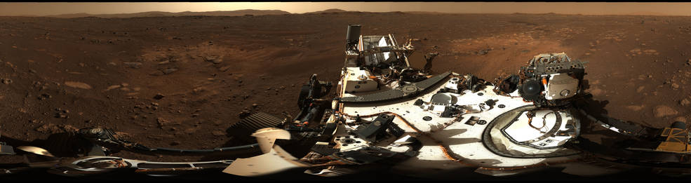 This is the first 360-degree panorama taken by Mastcam-Z, a zoomable pair of cameras aboard NASA's Perseverance Mars rover.