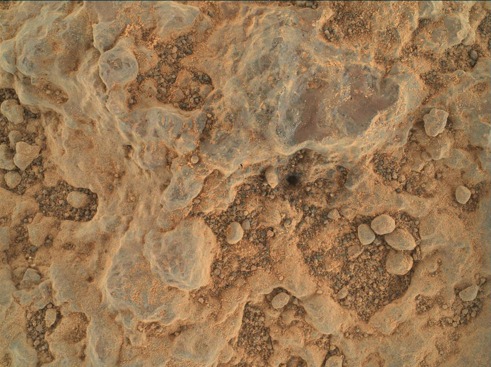 """Perseverance took this close-up of a rock target nicknamed """"Foux"""" using its WATSON camera on July 11, 2021, the 139th Martian day, or sol, of the mission. The area within the camera is roughly 1.4 by 1 inches (3.5 centimeters by 2.6 centimeters)."""