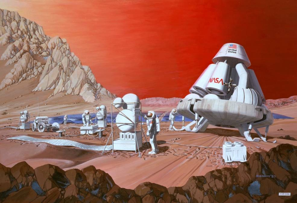 Artist Depiction of Manned Mission on Mars