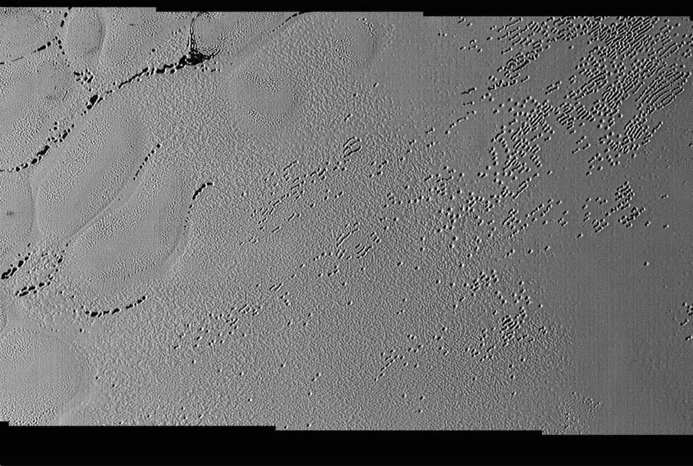 This image was taken by the Long Range Reconnaissance Imager (LORRI) on NASA's New Horizons spacecraft.