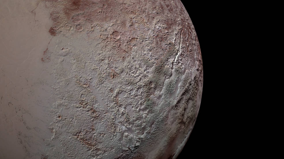Pluto's bladed terrain as seen from New Horizons during its July 2015 flyby.