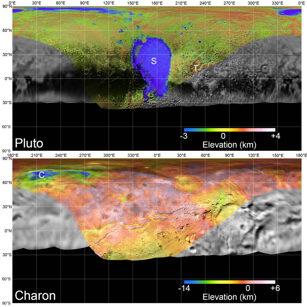 Global mosaics of Pluto and Charon projected at 300 meters per pixel have been assembled from the highest resolution images
