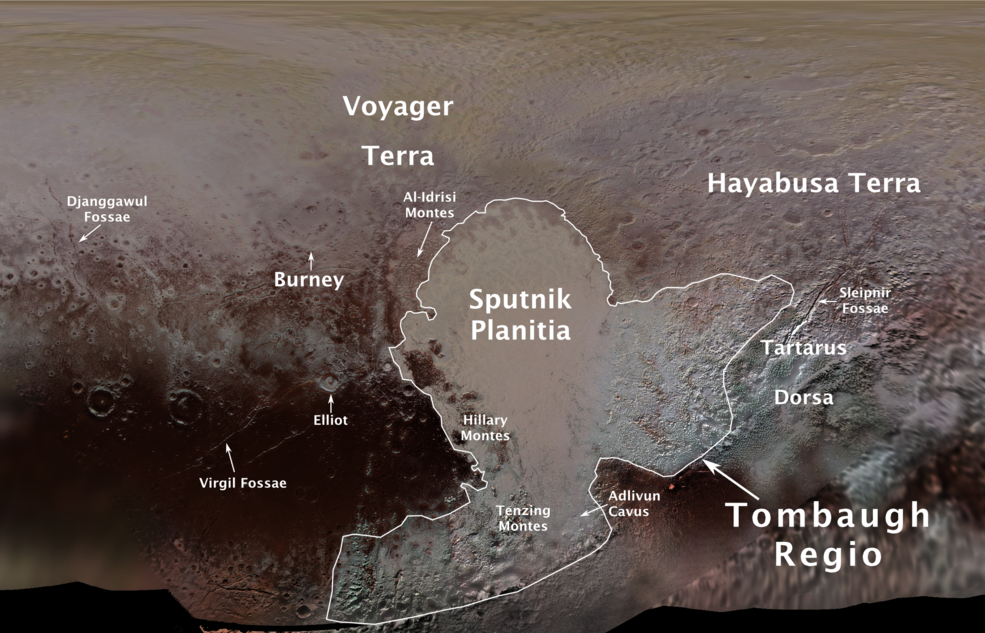 Pluto's first official surface-feature names are marked on this map.