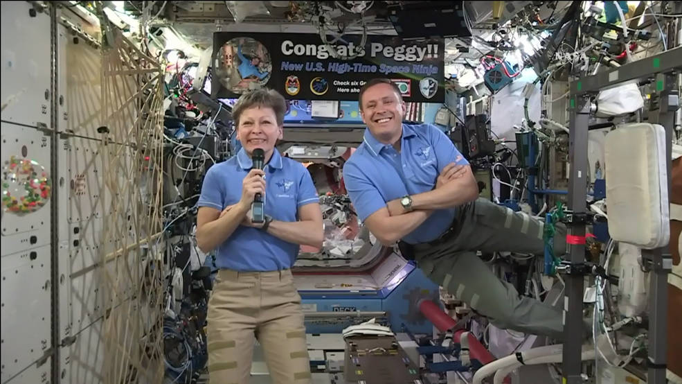 Expedition 51 Commander Peggy Whitson and Flight Engineer Jack Fischer of NASA