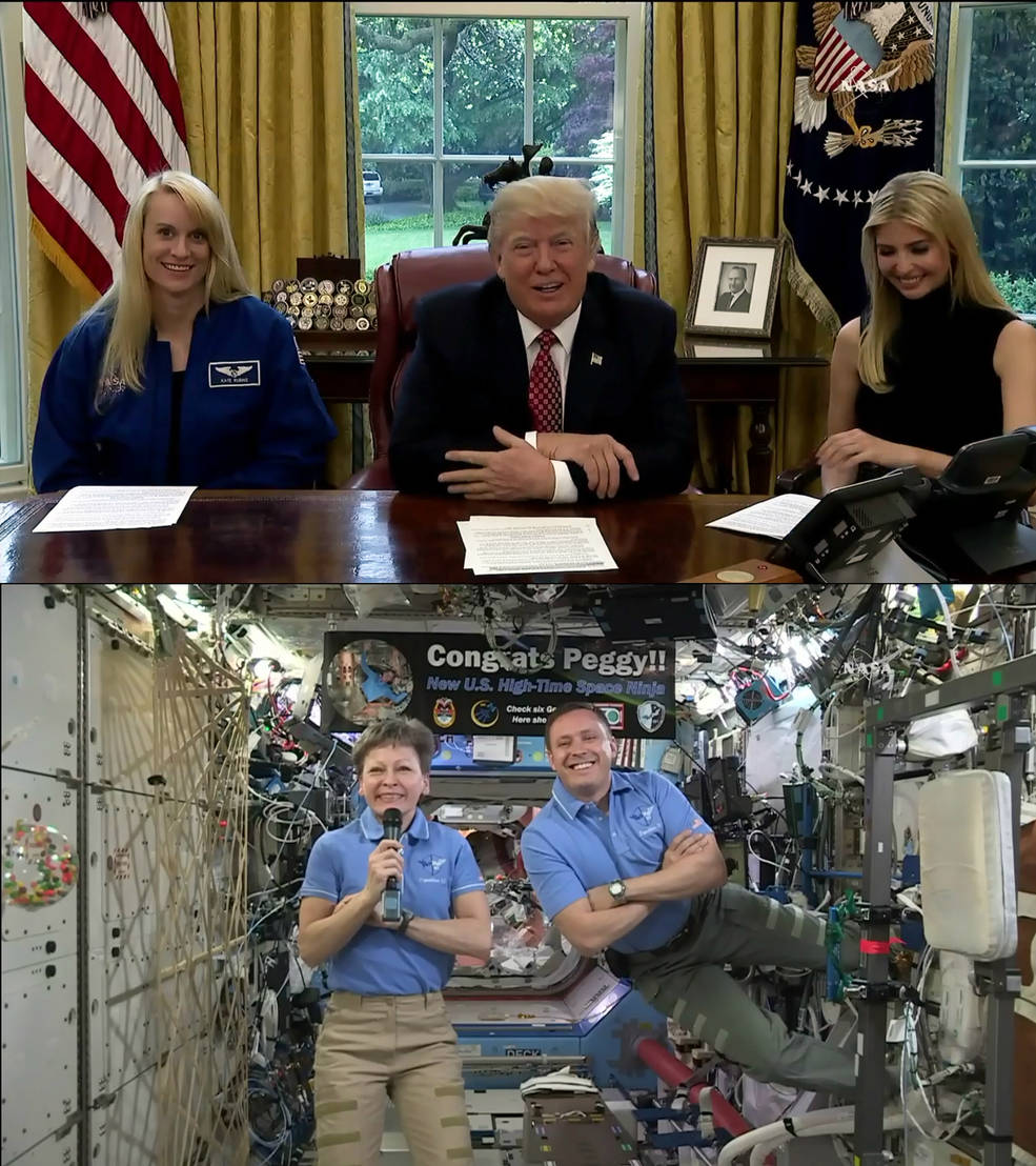 NASA astronauts Peggy Whitson and Jack Fischer speak to President Trump