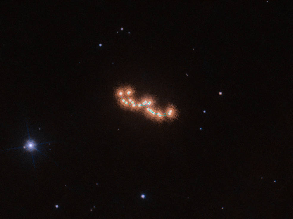 Two brown dwarf stars move across the universe.