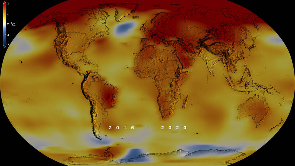 Flat global map showing the increase in global temperatures since the 1951-1980 average temperature.