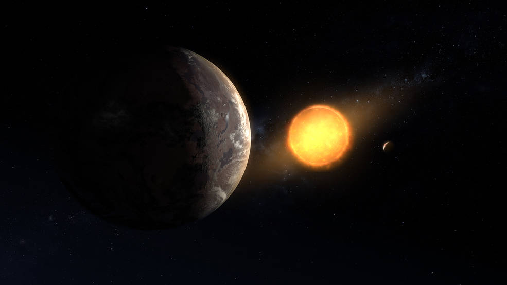 An illustration of Kepler-1649c orbiting around its host red dwarf star.