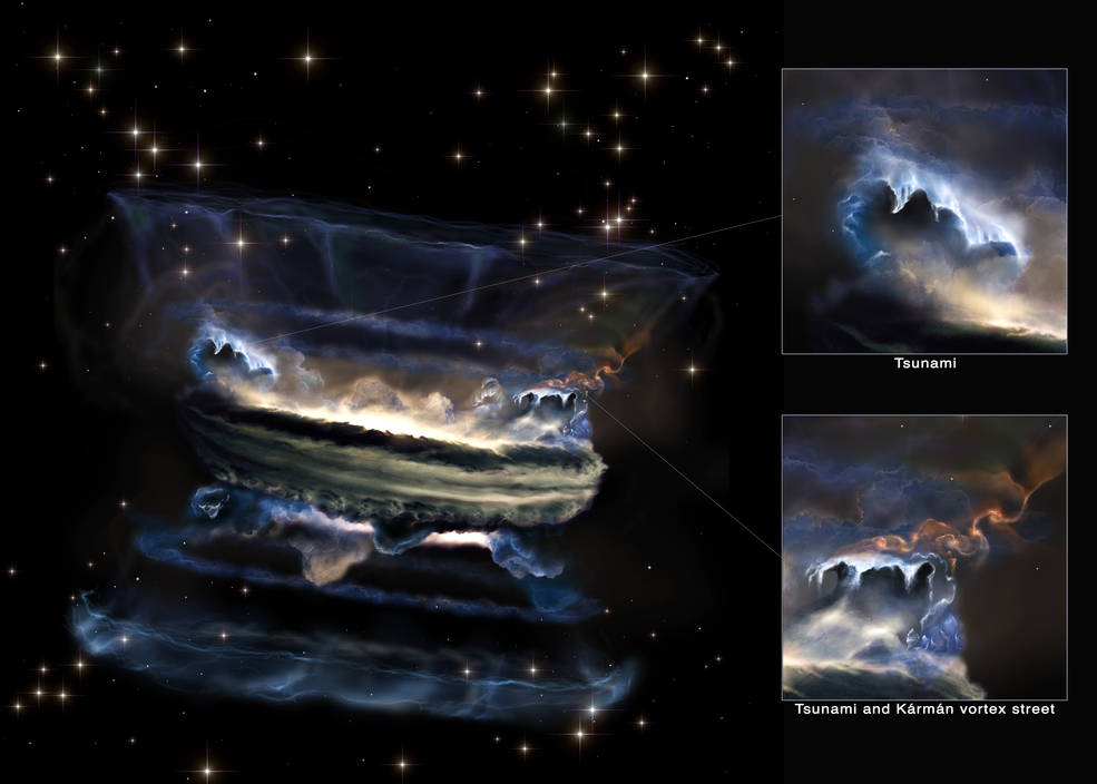 An artist's rendering of a quasar and some unusual nearby features in the gas surrounding it.