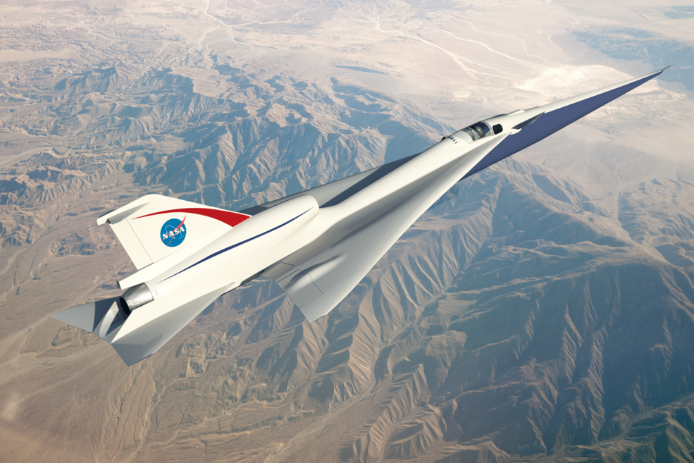 The Quiet Supersonic Technology preliminary design concept, an artist rendering, in flight.