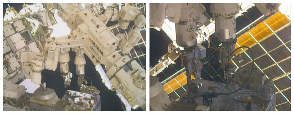 El robot Dextre de la Estación Espacial Internacional usó simultáneamente ambos brazos para estas operaciones robóticas.