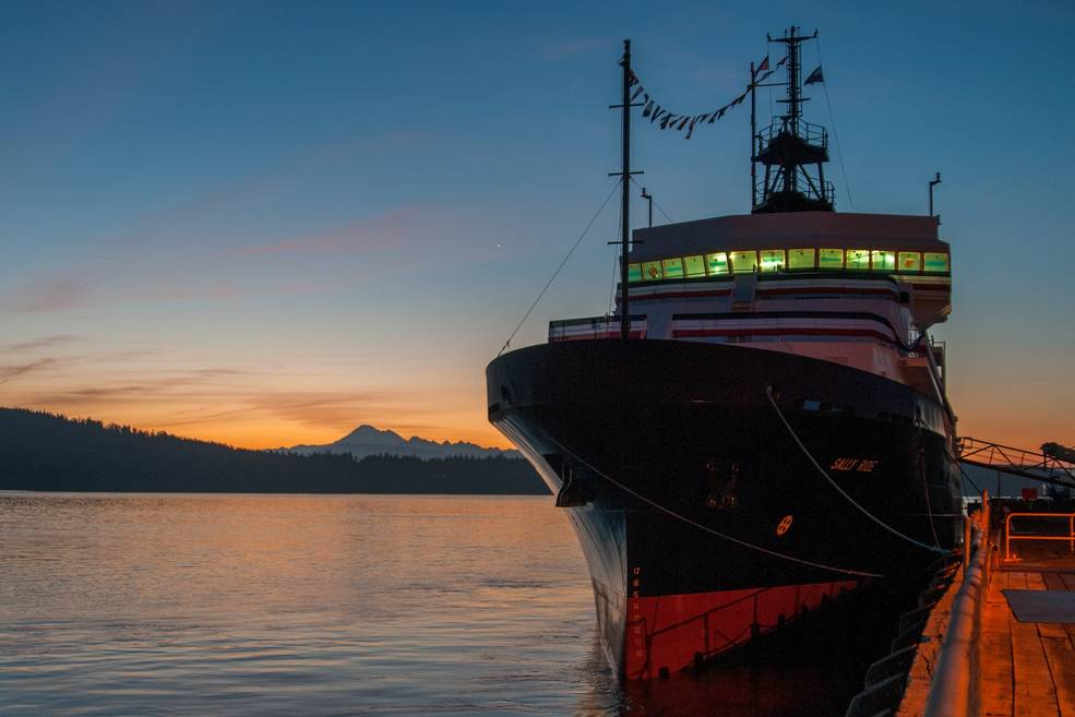 The Sally Ride research vessel, pictured at sunset