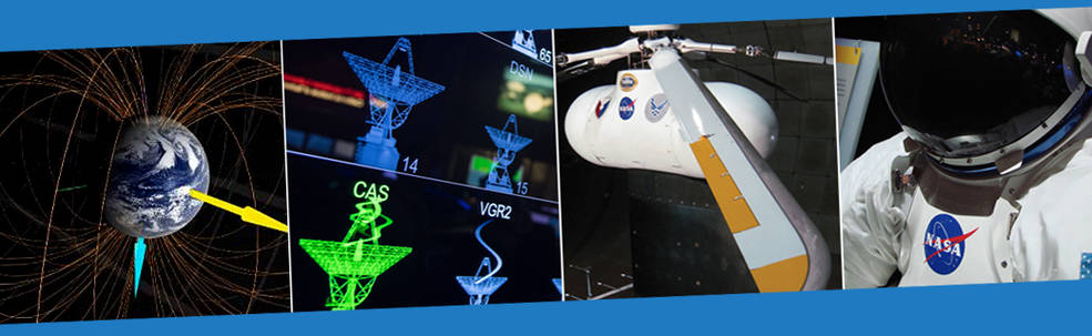 montage of images representing technology at NASA