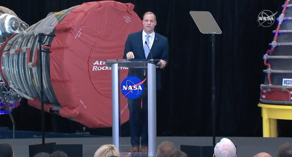 NASA Administrator Jim Bridenstine delivers the State of NASA address from NASA's Stennis Space Center in Mississippi on Feb. 10