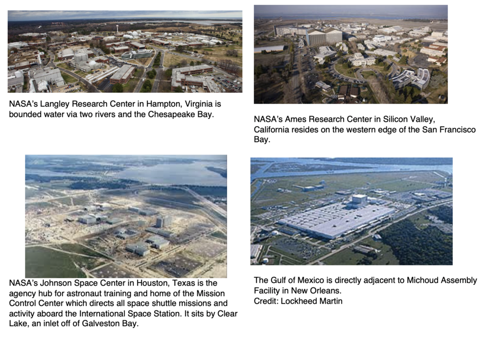 Aerial photos of several NASA facilities that may be affected by sea level rise.