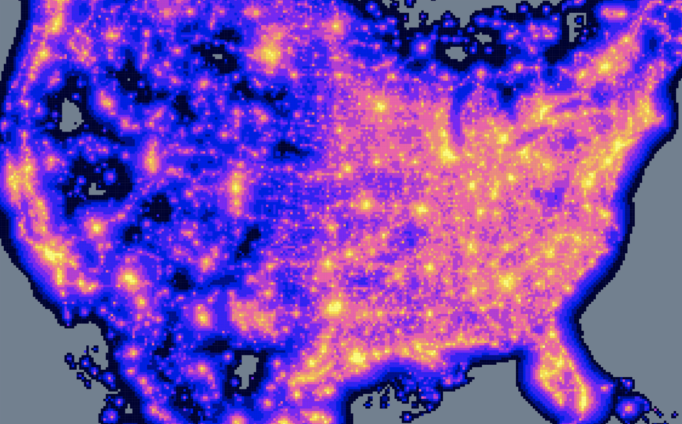 A map of the United States showing areas with high light pollution.