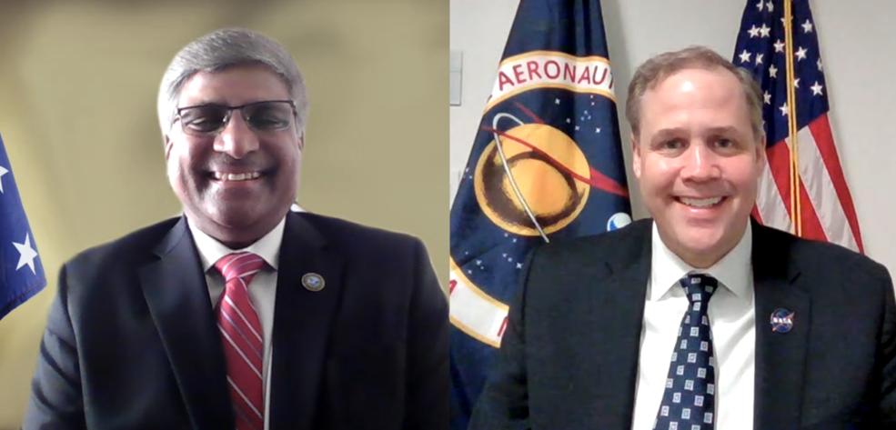 NASA Administrator Jim Bridenstine, right, and NSF Director Sethuraman Panchanathan