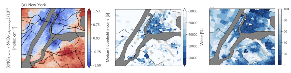 Maps of New York City showing the places with higher and lower drops in NO2, median household income and percent white.