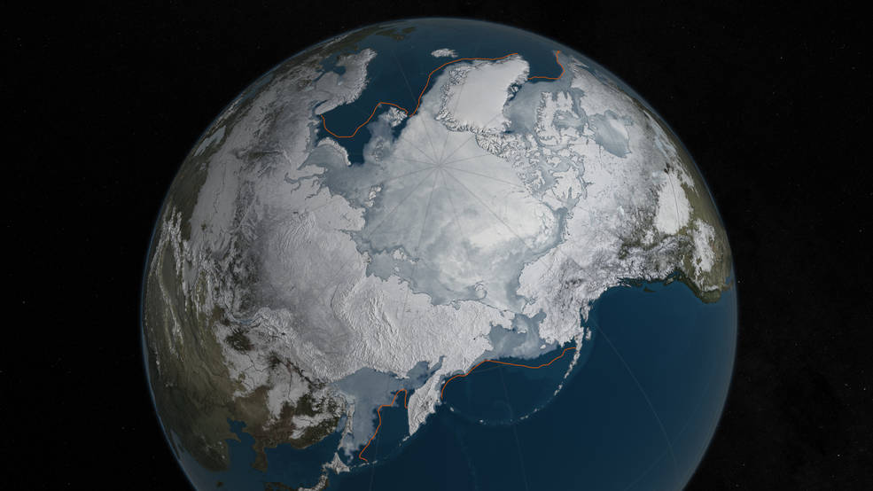 Arctic sea ice at record low wintertime maximum event