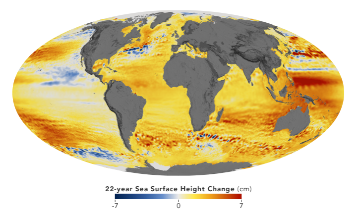 Map showing changes in sea level rise around the globe.