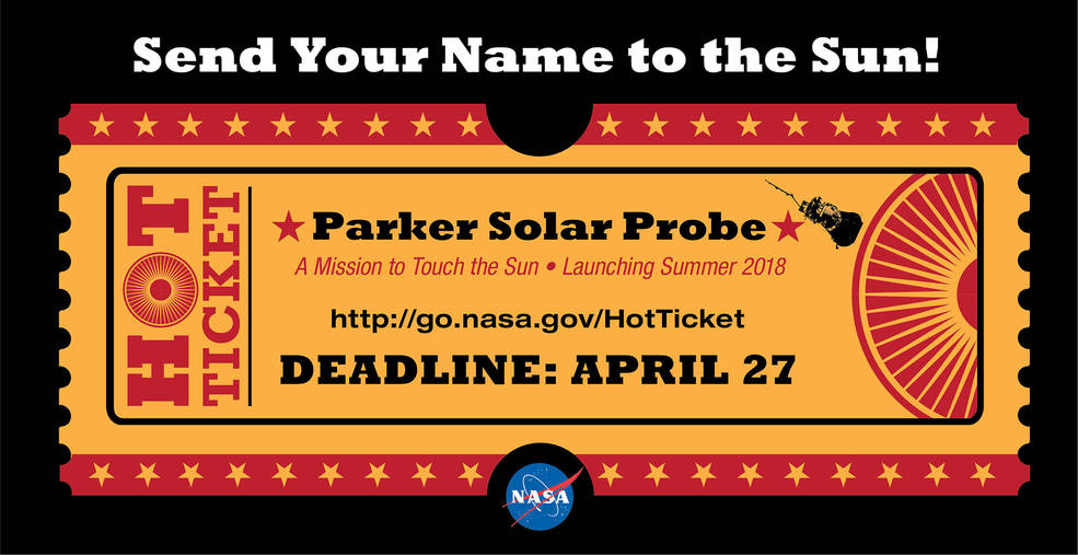 """ticket"" graphic with Parker Solar Probe name submission URL"