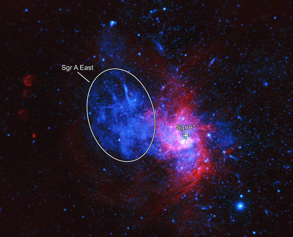 Labeled X-ray & Radio Image of Sagittarius A East.