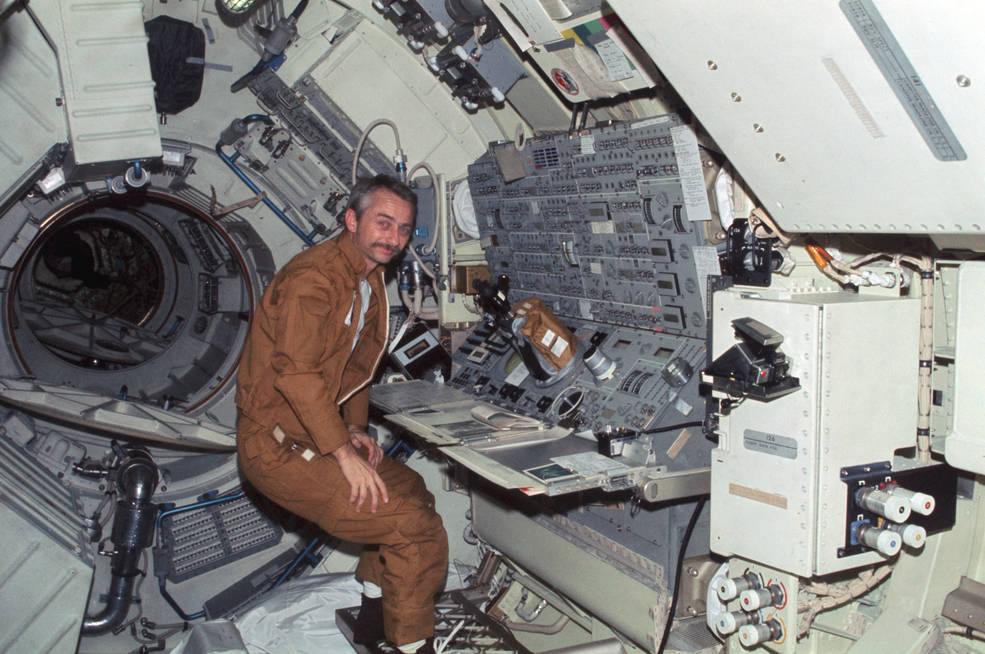Astronaut Owen Garriott at the Apollo Telescope Mount console