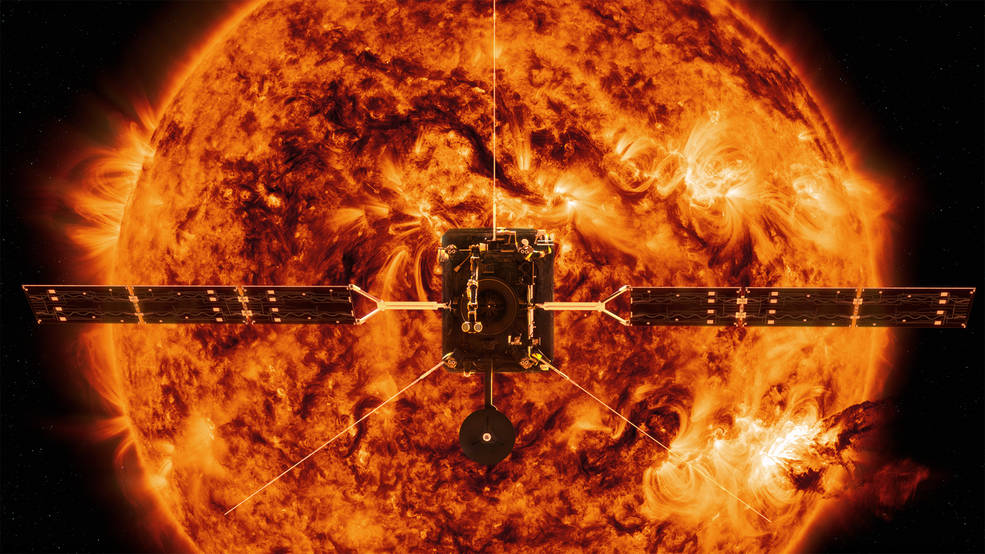 ESAs (European Space Agencys) Solar Orbiter, shown here in an artists rendition illustration against backdrop image of Sun