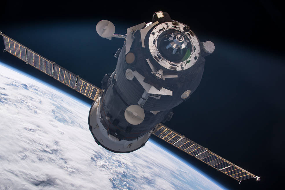 The Russian Progress 62 spacecraft approaches the International Space Station on July 1, 2016.