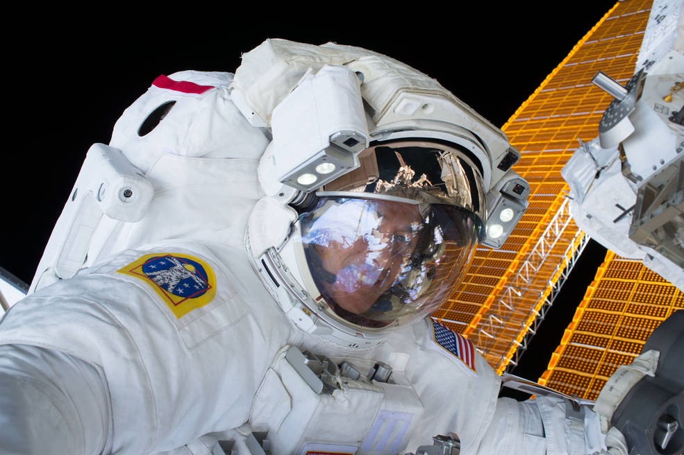 Expedition 50 astronaut Shane Kimbrough of NASA is seen during a spacewalk aboard the International Space Station.