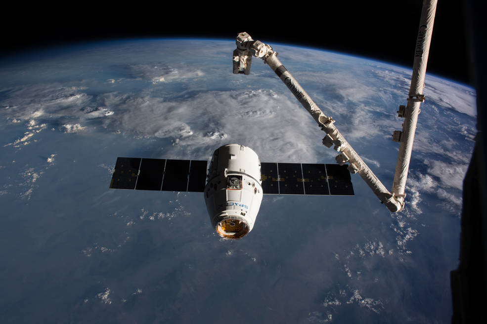 SpaceX Dragon spacecraft making its final approach to the International Space Station