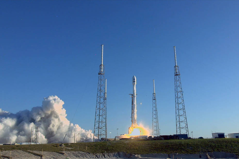 The SpaceX Falcon 9 rocket with NASA's Transiting Exoplanet Survey Satellite (TESS) lifts off at 6:51 p.m. EDT.