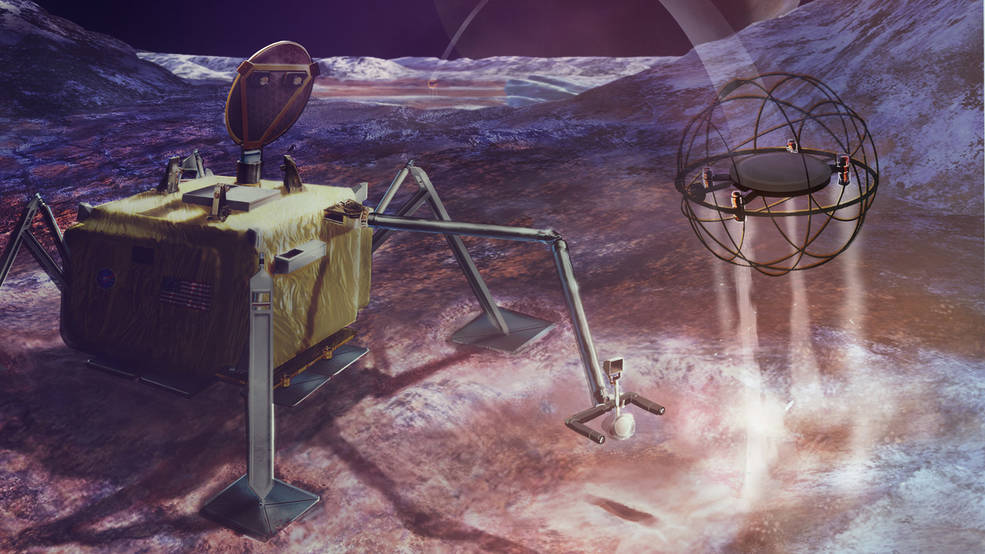 In this artist's concept, a SPARROW robot uses steam propulsion to hop away from its lander