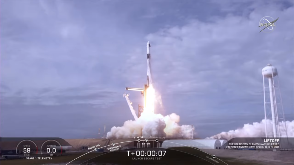 Liftoff of SpaceX's Crew Dragon from Launch Complex 39A at NASA's Kennedy Space Center