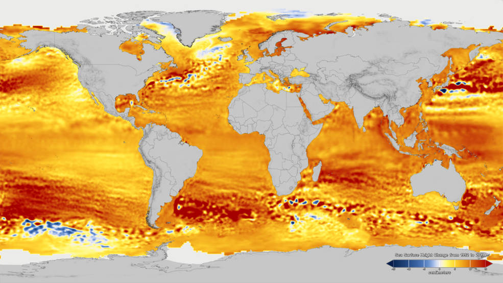 This visualization shows total sea level change between 1992 and 2019, with orange/red regions indicating where sea levels are rising.