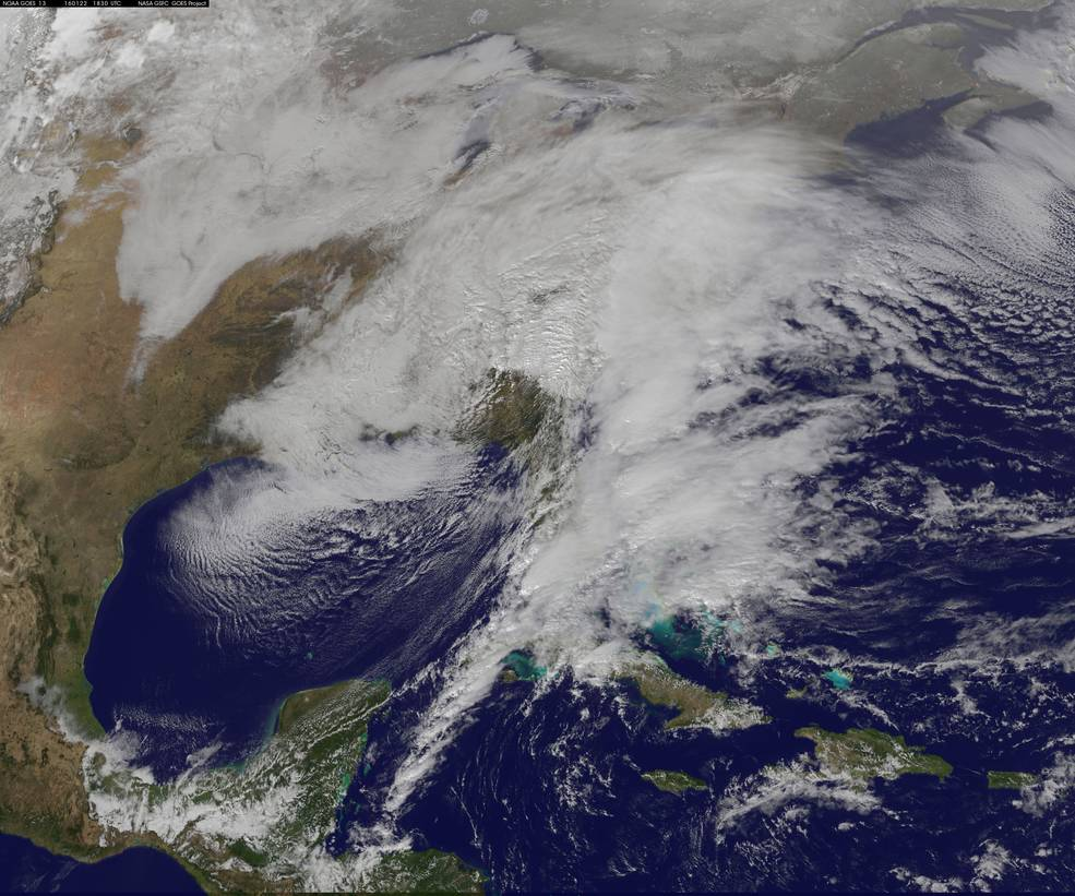 GOES-East image of Winter Blizzard 2016