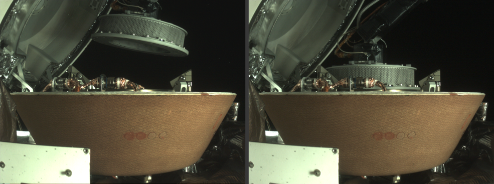 side-by-side images of a cylinder approaching and attaching to a spacecraft