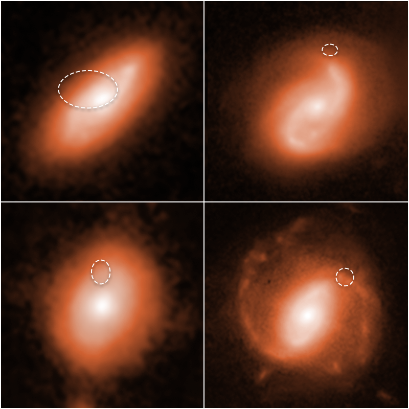Hunting for the neighborhoods of enigmatic, fast radio bursts (FRBs), astronomers using the Hubble Space Telescope tracked four of them to the spiral arms of the four distant galaxies shown in the image.