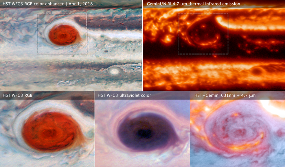 various images of Jupiter's Great Red Spot