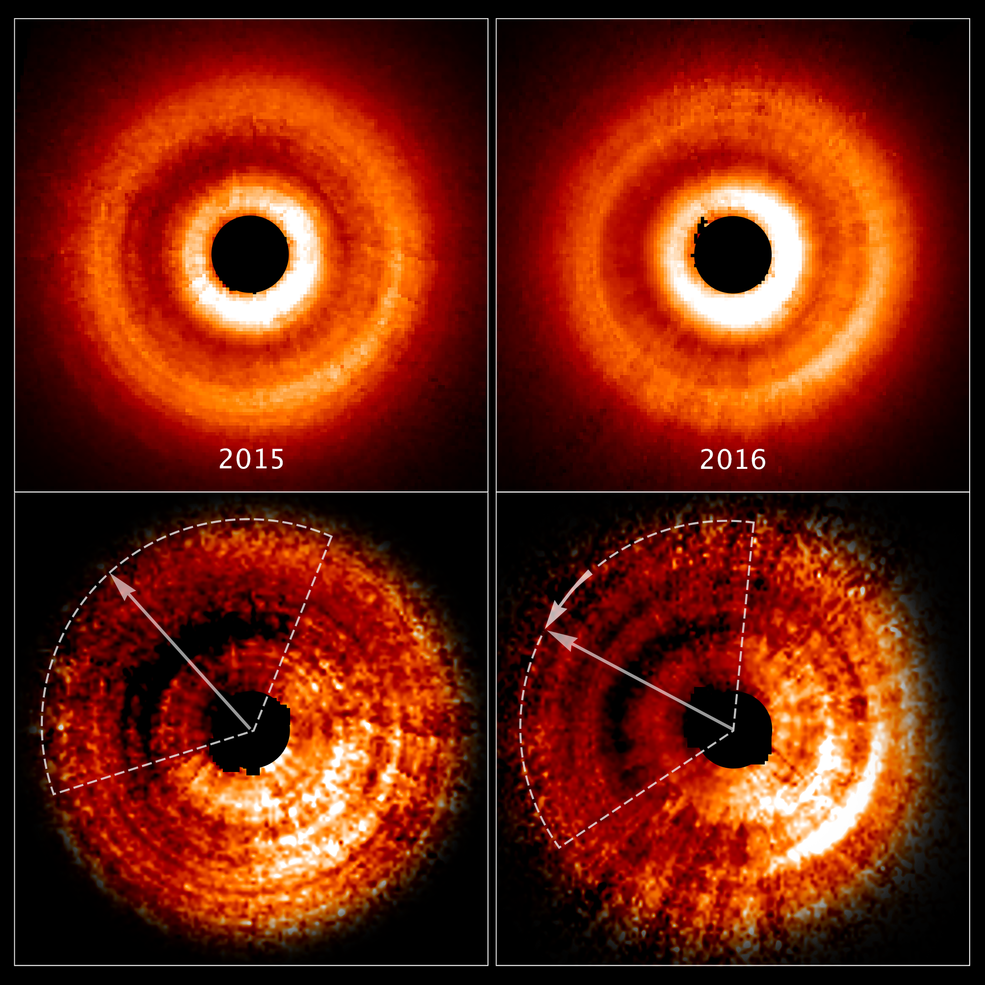 four part graphic showing orange rings against black