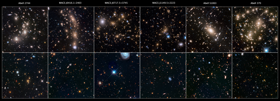 12 frames of galaxy clusters